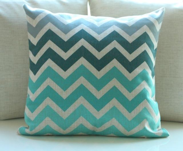 Vintage Cotton Linen Chevron Cushion Cover Pillow Case Zigzag Grey  Blue/Pink Home Decor Teal