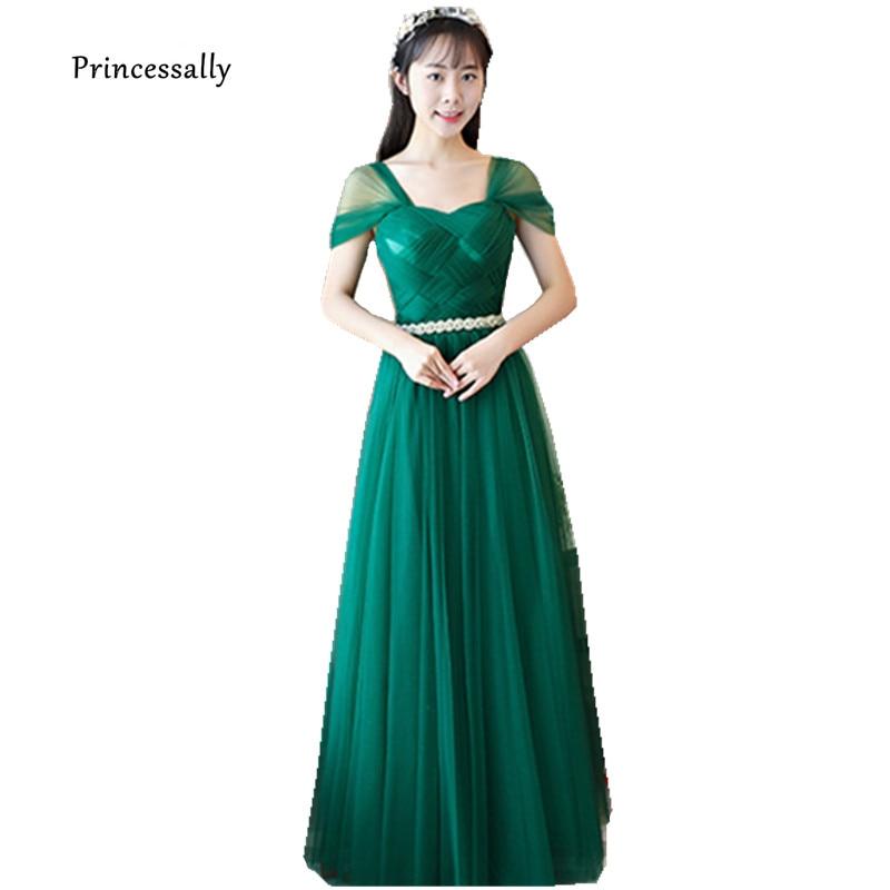 Robe De Soriee New Emerald Green Evening Dress Floor Length Cap Sleeve Pleat Elegant Cheap Prom Party Homecoming Women Gown