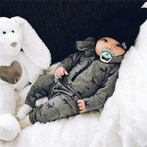 PUDCOCO dzieci niemowlę dziecko chłopcy z długim rękawem z kapturem renifer druku Romper kombinezon Playsuit ubrania stroje jednoczęściowy 0- 3 T