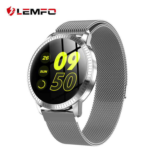 LEMFO CF18 1.22 Inch Smart Watch Waterproof IP67 Blood Pressure Monitoring Metal Starp Multi Sport Modes SmartWatch Women Band