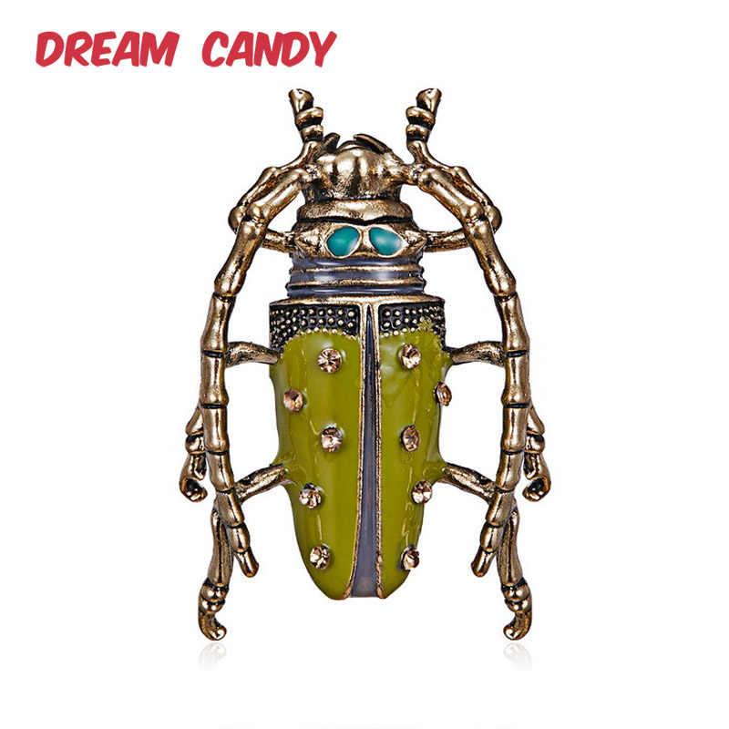 Sogno Della Caramella Nuovo Stile Strass Beetle Spille per Le Donne Variopinto Dello Smalto Spille Insetto Spilla Uomini Dei Monili Accessori di Moda