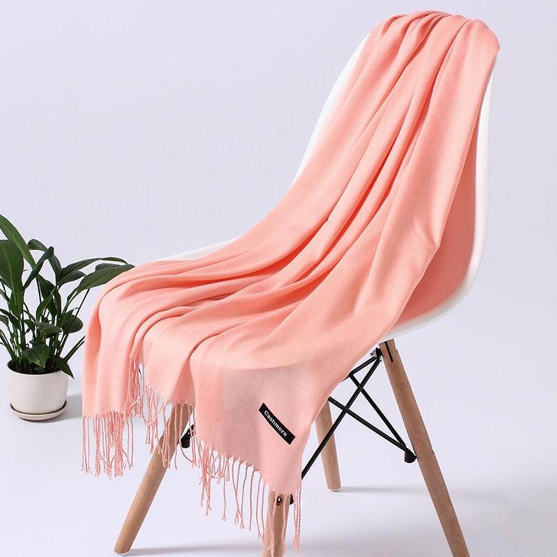 Однотонный кашемировый шарф для женщин новые длинные мягкие шали и палантины пашмины модные хиджаб с кисточками женские шейные шарфы