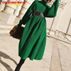 Try Everything Long Knitted Sweater Dress Women Turtleneck Oversized Green Winter Dresses Women Chic Batwing Sleelve