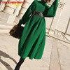 Try Everything Long Knitted Sweater Dress Women Turtleneck Oversized Green Winter Dresses Women Chic Batwing Sleelve