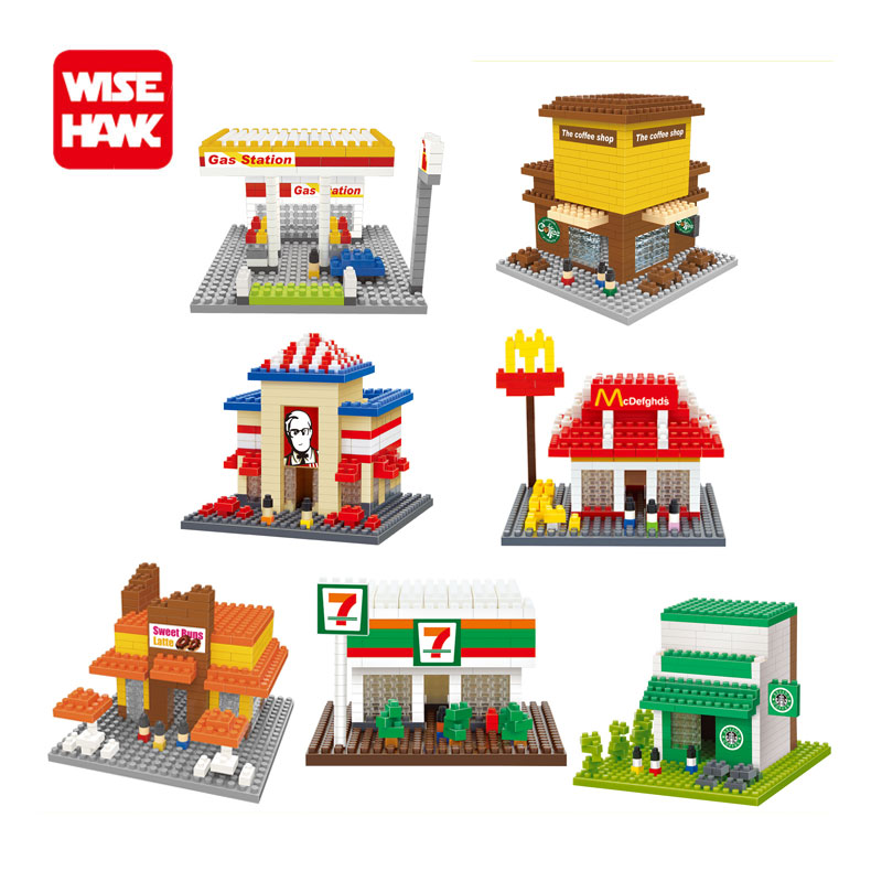 WiseHawk nano blocks kawaii coffee Shop gas station street figure model bricks plastic Building blocks educational toys for kid. wisehawk hot plastic nano blocks kawaii anime cartoon one piece luffy action figures building bricks diy models educational toys