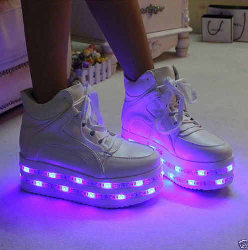 Womens Girls High Platform Punk Goth Lace Up LED Night USB Charge Light Up Boots Lights Shoes Casual Nightclub Black White high waisted gray lace up womens skirts