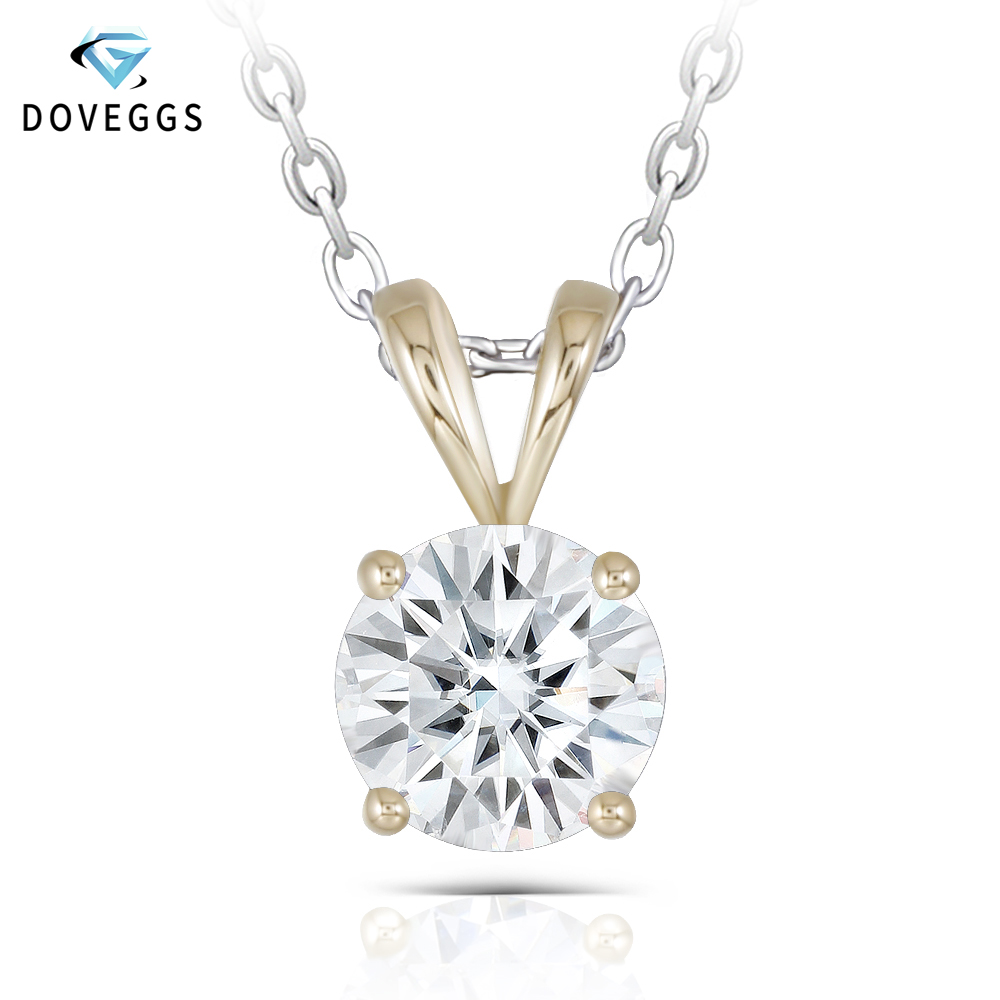 DovEggs Classic Solid 14K 585 Yellow Gold 2ct 8mm GH Color Moissanite Diamond Pendant For Women Solitaire