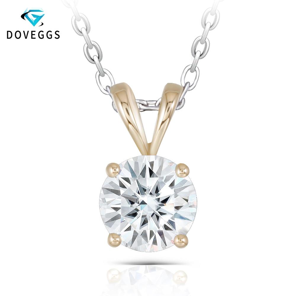 d5940f61d6a2 Palomas clásico sólido 14 K de oro amarillo 585 2ct 8mm GH Color Moissanite diamante  colgante para las mujeres anillo de solitario colgante