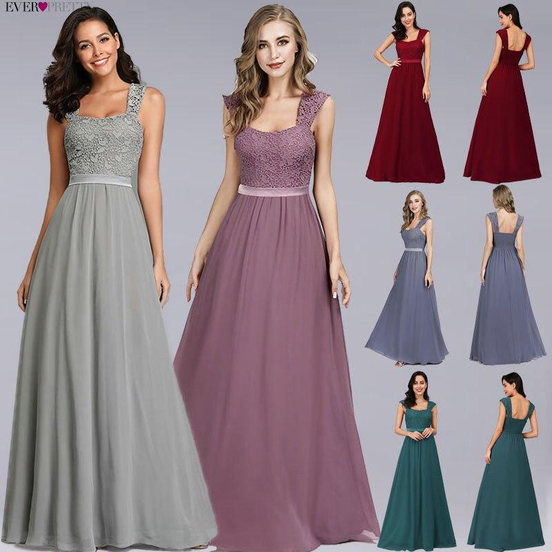 Burgundy Bridesmaid Dresses Elegant Long A-Line Chiffon Wedding Guest Dresses Ever Pretty EZ07704 Grey Simple Vestido Longo