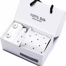 Gift box packing  men brand luxury necktie pocket square wedding mens neck ties silk tie