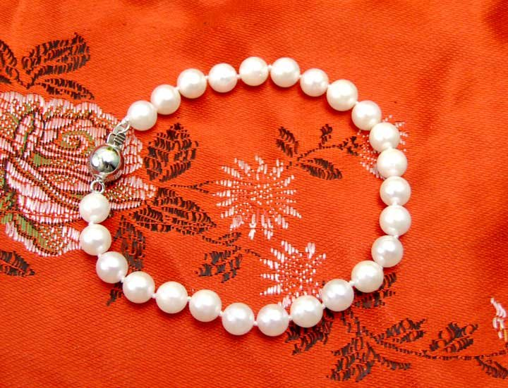 Great AAA  mm natural AKOYA Saltwater Pearl bracelet Sterling Silver S