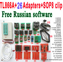 Free Russian software + Original Minipro TL866A programmer +26 adapter socket + SOP8 Clip IC clamp V6.6 Bios Flash EPROM EEPROM