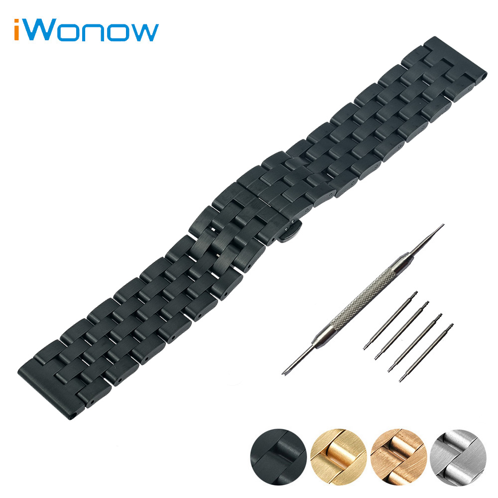 Stainless Steel Watch Band 24mm for Suunto TRAVERSE Butterfly Buckle Strap Wrist Belt Bracelet Black Silver + Spring Bar + Tool stainless steel watch band 16mm 18mm 20mm for hamilton quick release strap butterfly buckle wrist belt bracelet spring bar
