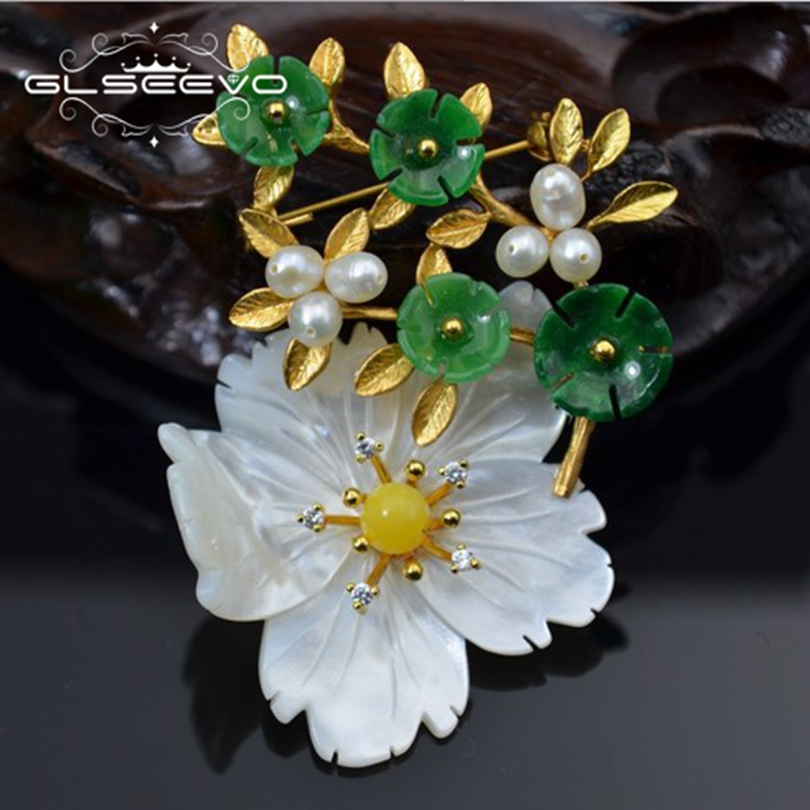 GLSEEVO Natural Mother Of Pearl Flower Brooch Pins Beeswax Aventurine Brooches For Women Dual Use Designer Jewelry Luxury GO0238