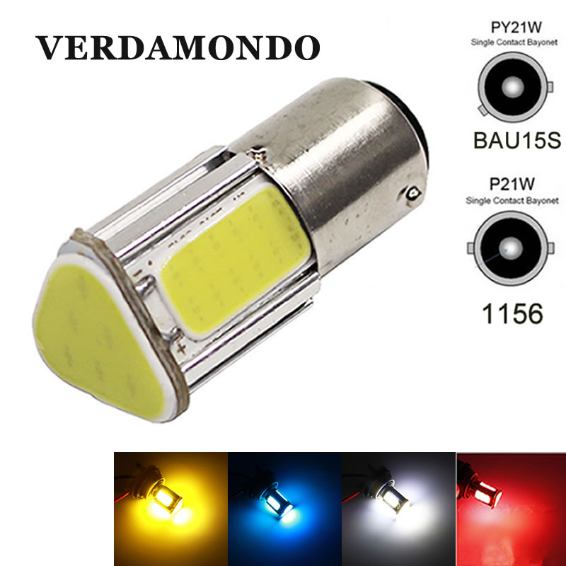 Super Bright 1156 LED Ba15S P21W Bau15s Wedge 4 Cob Led Car Light White Brake Reversing Bulb Turn Signal DRL Tail Lamp DC 12V