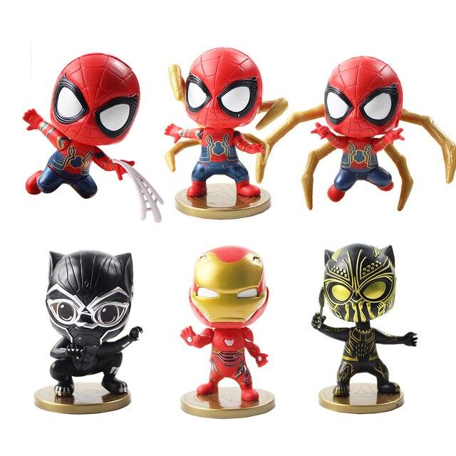 9/10 cm 6cs/lot Ferro Homem Aranha homem de Ferro Aranha Q Versão PVC Action Figure Coleção Pantera Negra modelo de Brinquedo