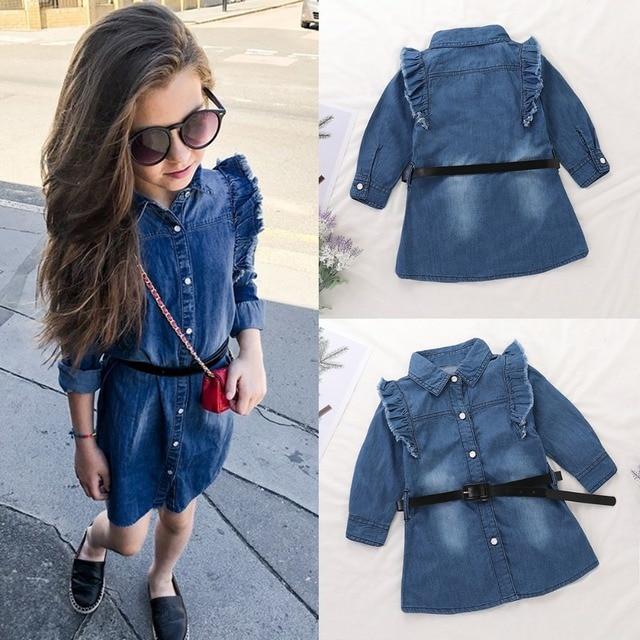 8ecd60eb4395 Puseky Kid Girl Clothing Baby Denim Dress Ruffle Long Sleeve ...