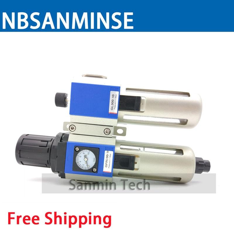 NBSANMINSE deux unités régulateur de filtre GFC 200 1/8 1/4 3/8 1/2 FRL compresseur d'air régulateur de filtre unités de préparation d'air