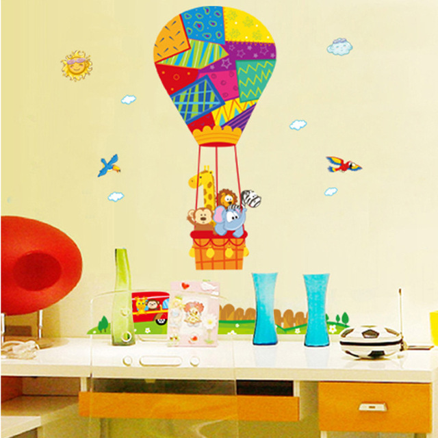 Hot air balloon wall sticker animals wall stickers cartoon stickers childrens room nursery room