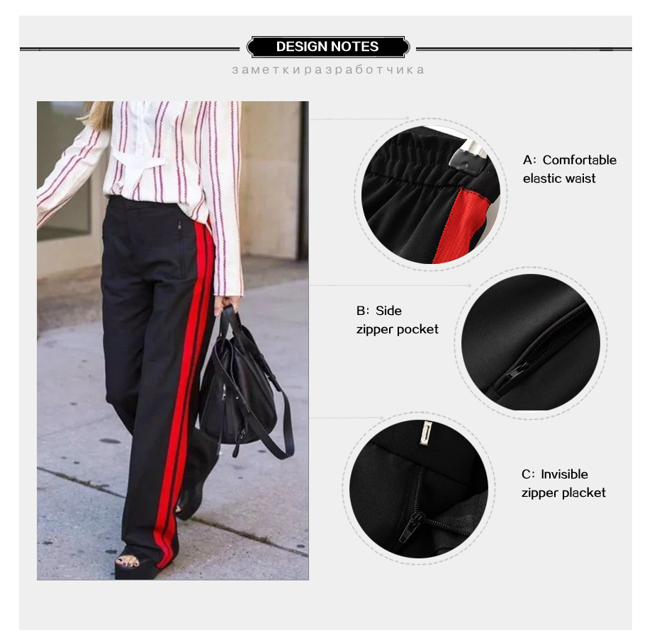 HTB1Ri0ZPVXXXXbSXVXXq6xXFXXXY - Women Pant Casual  Side Belt Red Striped Stitching JKP134