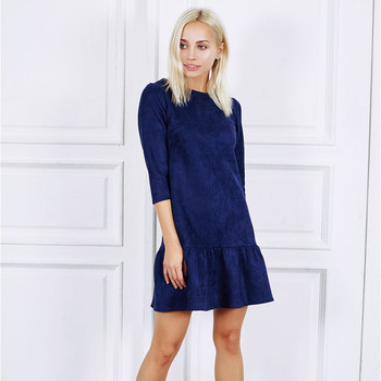AiiaBestProducts Women Suede Casual Three Quarter Sleeve Dress 4