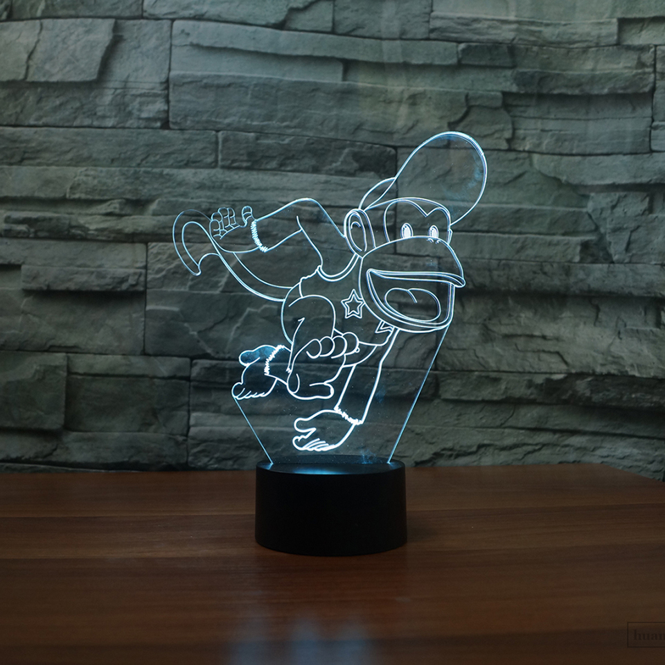 Creative Led 3D Vision Gift Funny Monkey Light Fixture Usb Home Decor Lampara Desk Lamp 7 Colors Change Baby Bedside Night Light