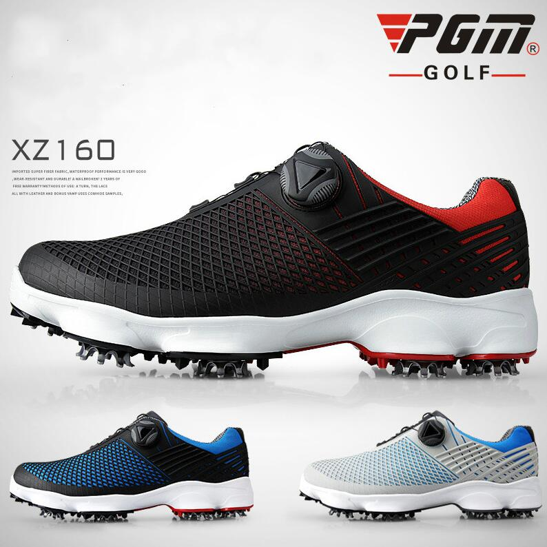 PGM Anti-skid Golf Shoes Men's Waterproof Breathable Sports Shoes Rotary Shoelaces Patented Side Slip-proof Golf Sneakers