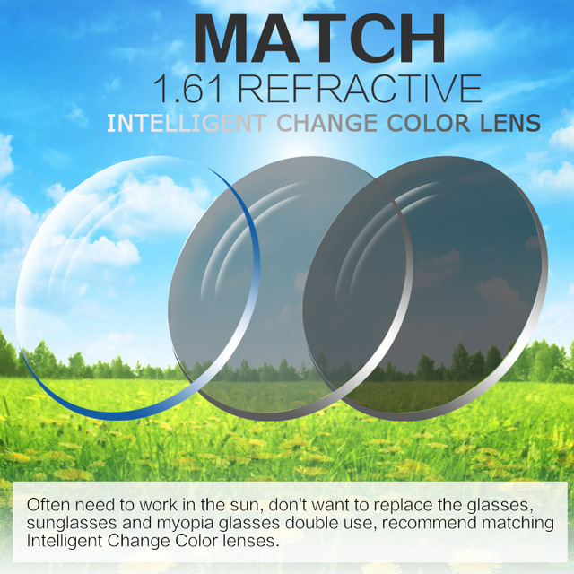 Extra Fee for Photochromic Lens Myopia /Hyperopia Reading Glasses Colorless Change to Gray Intelligent Change Color lenses