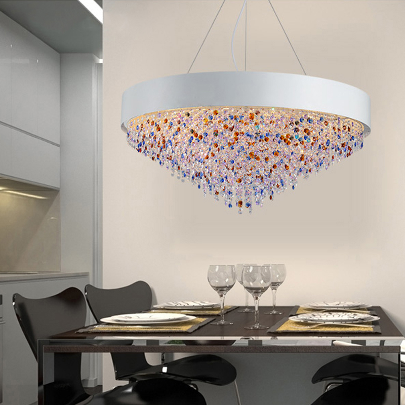 t creative large colorful crystal pendant light dining room home living room restaurant rectangular modern lamp for hall hotel in pendant lights from lights - Rectangular Pendant Light Dining