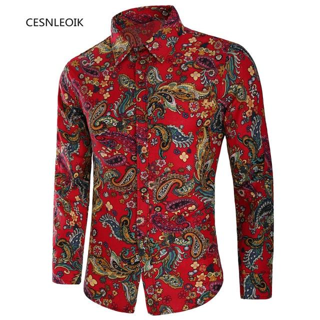 1cf358d78e3 Fashion Mens Long Sleeve Hawaiian Shirt Summer Casual Floral Shirts For Men  Asian Size M-XXXL C8816