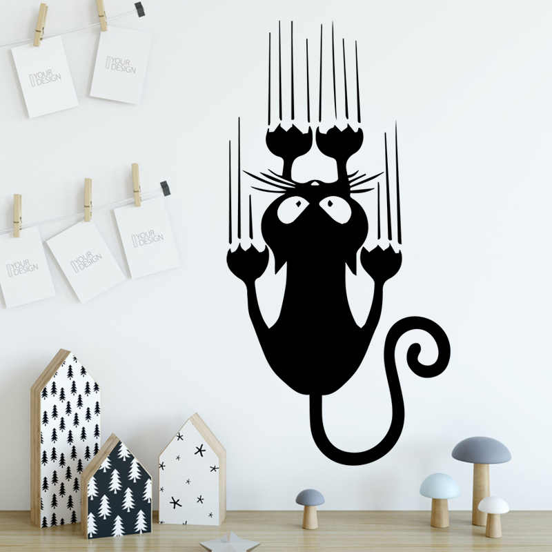 Cartoon Style Cat Vinyl Wall Stickers For Kids Room Decoration Accessories Wall Decals Art Wall Decor Stickers Mural
