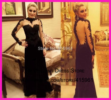 2014 Elaborate High Collar Long Sleeve Backless Lace Mermaid Velvet Evening Dress Prom Gown E5886