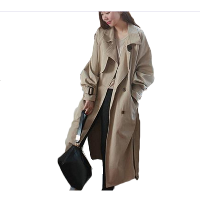 Long temperament coat female spring and autumn 2018 Korean loose Raglan sleeves double-breasted side-split belt belt   trench   coat