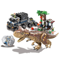 New Bela 10926 595pcs Jurassic World Carnotaurus Gyrosphere Escape Model Building Block Toys For Children 75929