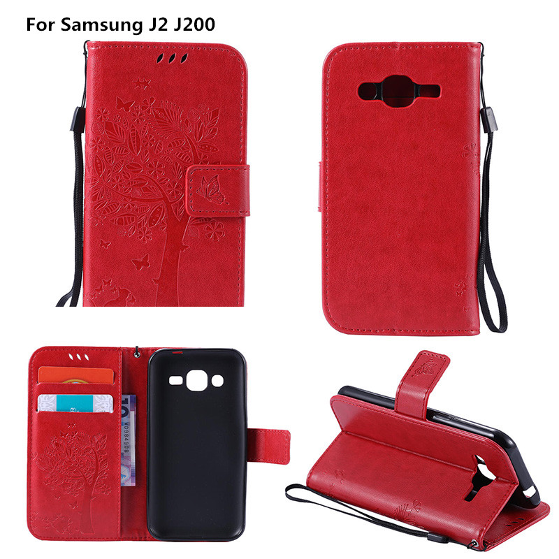 Coque For <font><b>Samsung</b></font> J2 <font><b>J200</b></font> Luxury Embossed Leather Wallet Flip Cover <font><b>Case</b></font> For <font><b>Samsung</b></font> <font><b>Galaxy</b></font> J 2 SM-J200F SM J200F Emboss Shell image