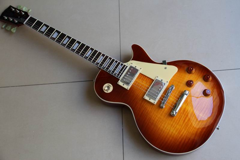 New Arrival  Custom shop 1959 R9 Tiger Flame LP electric guitar Standard LP 59 electric guitar in sunburst 110921 new arrival slash signature left handed lp guitar electric vintage sunburst tiger flame china guitar body custom