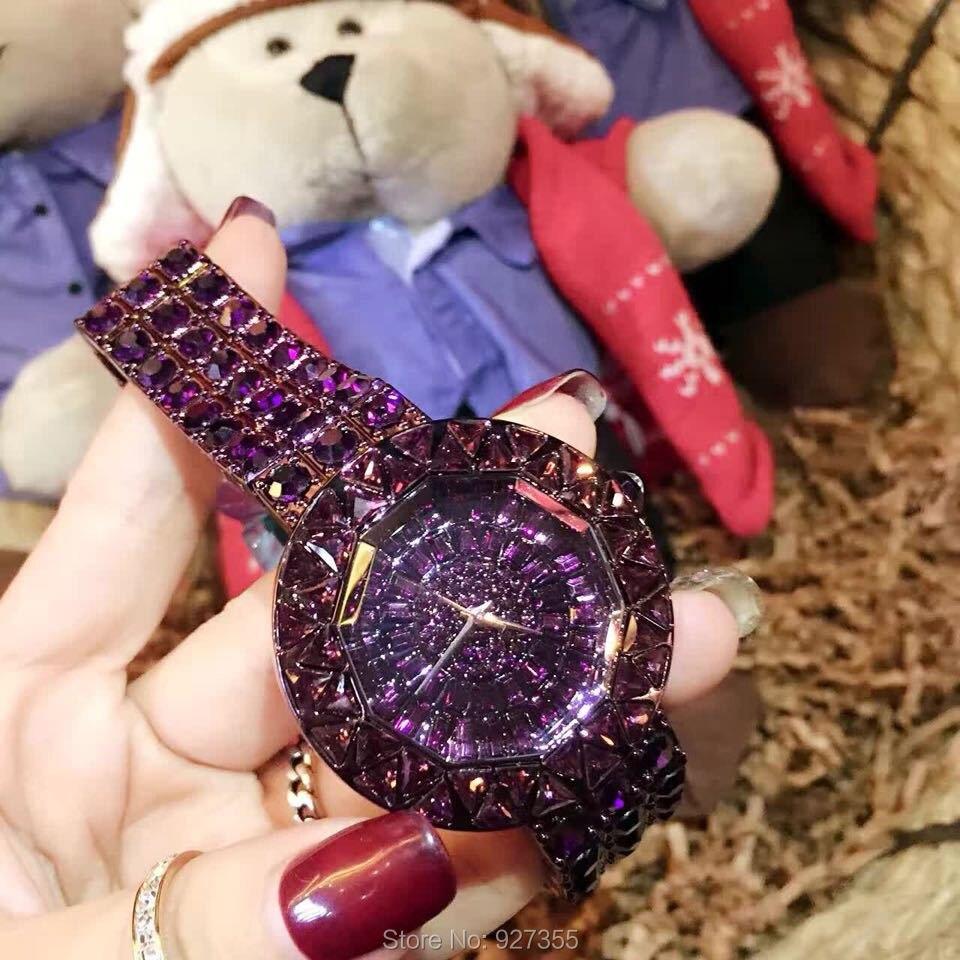 2019 새로운 스타일 보라색 여성 시계 탑 럭셔리 스틸 전체 라인 석 손목 시계 레이디 크리스탈 드레스 시계 여성 쿼츠 시계-에서여성용 시계부터 시계 의  그룹 3