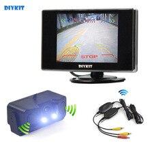 DIYKIT 3.5 polegada TFT LCD Monitor Do Carro Sem Fio À Prova D' Água + Sensor De Estacionamento Radar Invertendo Sistema de Assistência de Estacionamento Câmera do carro