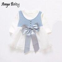 Amyababy bebé Niñas Vestido de manga larga princesa Pascua vestido coreano Bebé Ropa arco infantil Niñas cumpleaños Vestidos