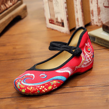Mrs win Fashion Women's Shoes Old Peking Mary Jane Canvas Flats Fish Flower Embroidery Soft Sole Casual Shoes scarpe donna