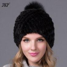 ホット販売リアルミンクの毛皮の帽子冬用の女性のミンクポイントキャップ帽子で毛皮フォックスポンポン2017真新しい厚い女性キャップ