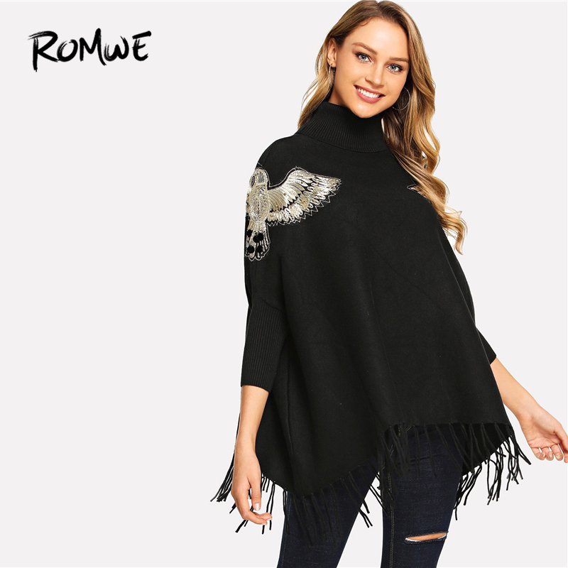 ROMWE Animal Embroidery Sweater 2019 Black Warm Stylish Asymmetrical Spring Autumn Pullovers Swish High Neck Women Sweater