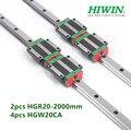 2 pièces 100% Hiwin HGR20 2000mm rail linéaire + 4 pièces HGW20CA à bride bloc roulements de chariot pour CNC routeur|carriage prices|carriage toy|carriage wedding -