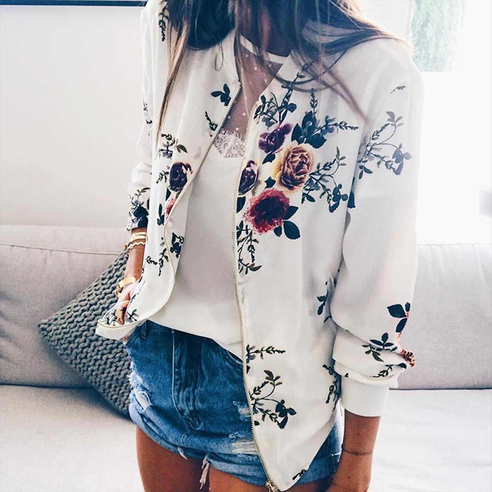 Nowy Retro kwiatowy drukowane podstawowe kurtka płaszcz kobiety jesień z długim rękawem zamek błyskawiczny w górę Bomber szczupła kurtka kobiet znosić topy ONA100041