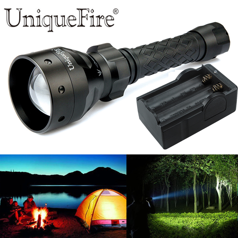 ФОТО UniqueFire 1406-XPG Waterproof Rechargeable LED Flashlight Outdoor Activities 38mm Convex Lens Lantern + Two Slot Charger