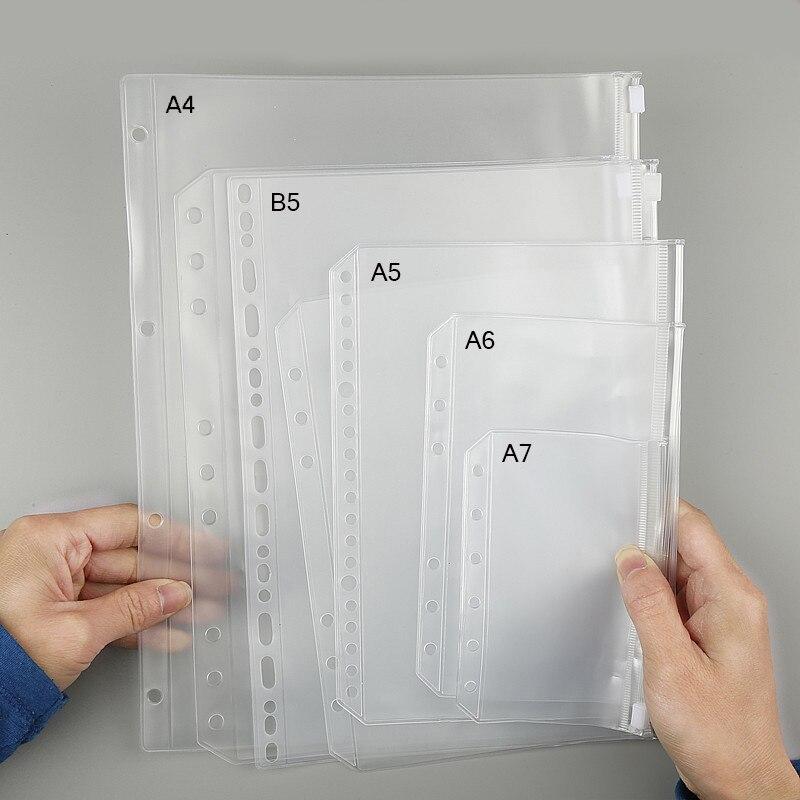 A4 B5 A5 A6 A7 Spiral Zipper Bag Planner, Transparent Loose Leaf Zipper Pockets Credit Card Pockets