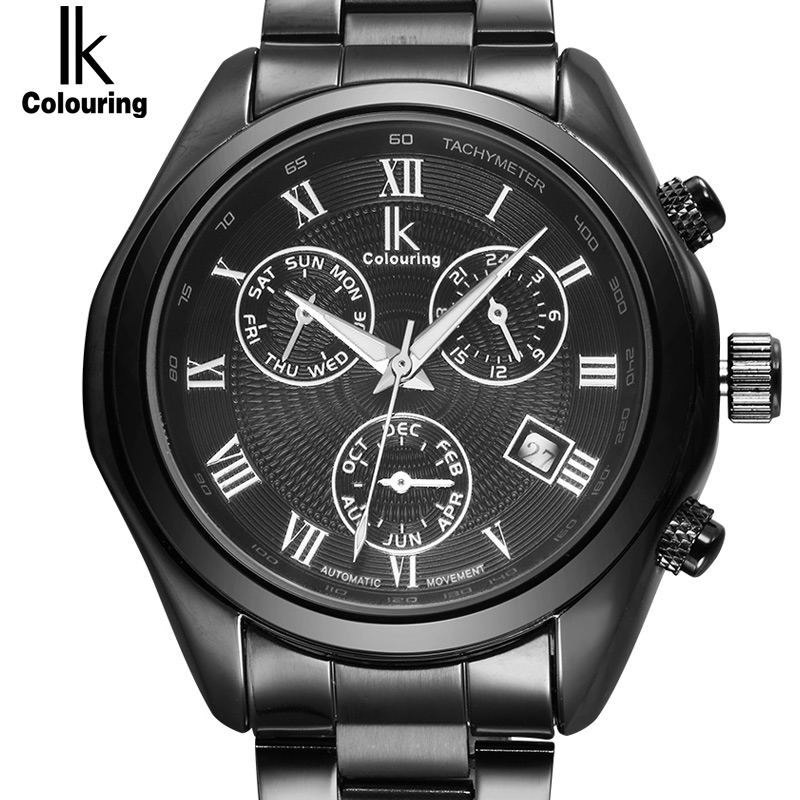 IK Roman Number Scale Automatic SelfWind Multifunction Sub Dial Hours Week Month Luminous Calender Hollow Back Steel Men Watch|watch fashion men|mens watches tag|watch case removal tool - title=