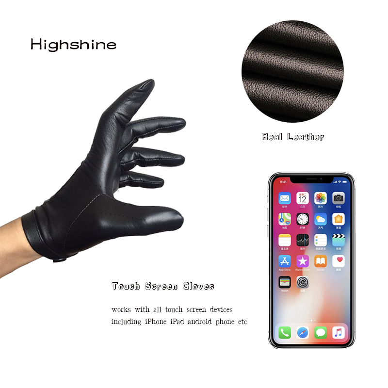 Highshine Winter Gloves Wrist-Button Sheep-Leather Brown Black Touch-Screen of Men