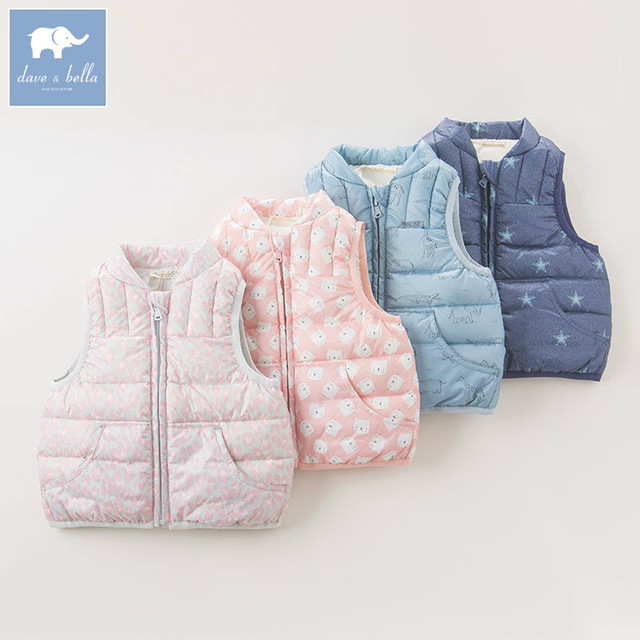 DB6447 dave bella autumn winter infant baby girls boys fashion white duck down coats kids toddler sleeveless fine feathers vest