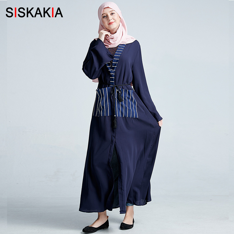 271807501a Siskakia Muslim Women Abaya Striped Pockets Patch Patchwork Muslimah Kaftans   Jubah Covered Buttons Arab UAE Islamic Thobes Blue-in Islamic Clothing  from ...